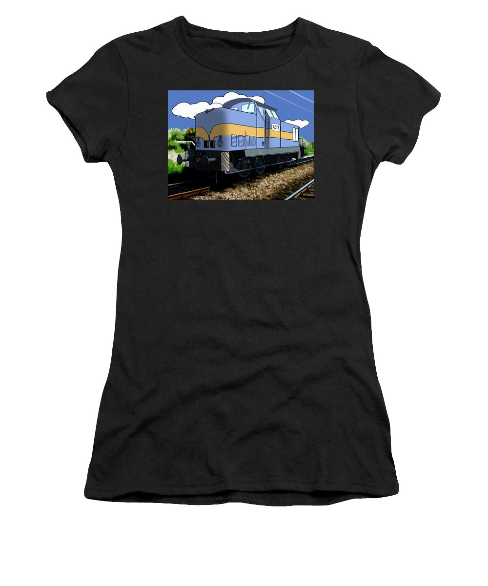 Train Women's T-Shirt (Athletic Fit) featuring the digital art Illustrated Train by Gravityx9 Designs
