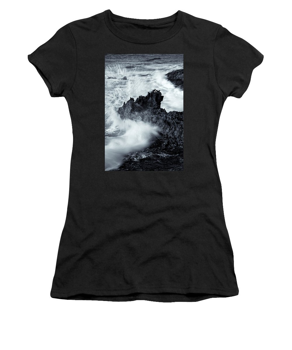 Seasstack Women's T-Shirt featuring the photograph Carved By The Sea by Mike Dawson