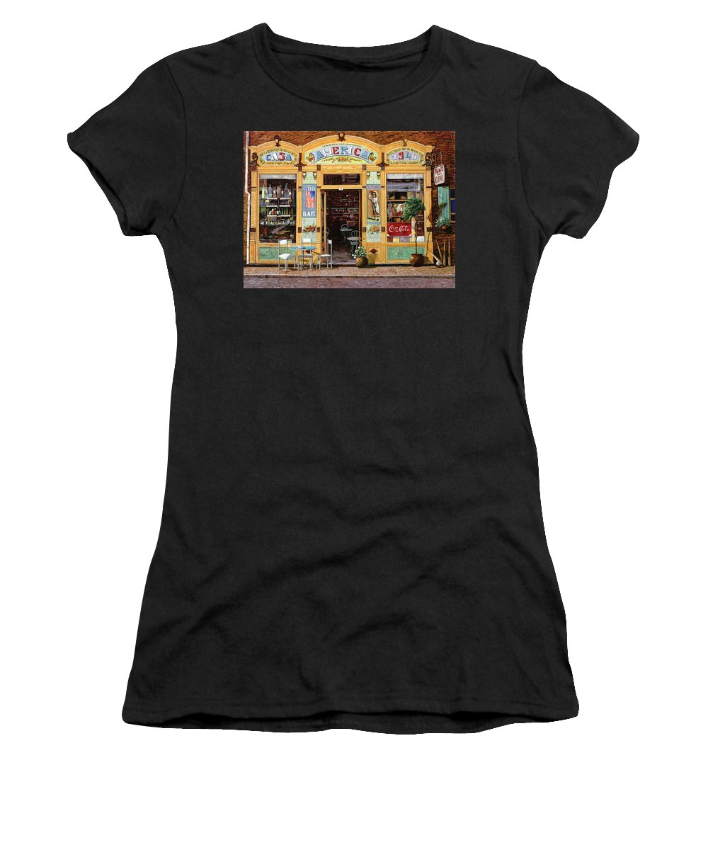 Coffe Shop Women's T-Shirt (Athletic Fit) featuring the painting Casa America by Guido Borelli