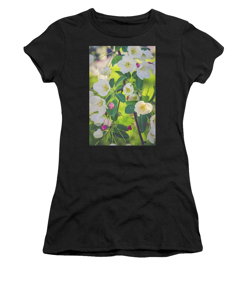 Cascade Women's T-Shirt featuring the photograph Cascading Flowers by Debbie Gracy