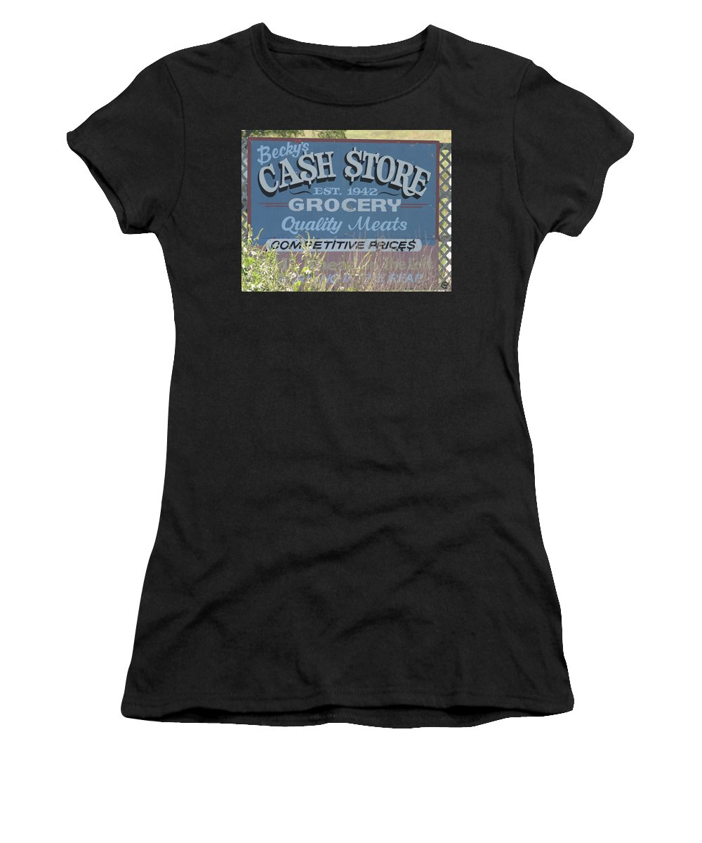 Signs Women's T-Shirt (Athletic Fit) featuring the photograph Cash Is King by Bjorn Sjogren
