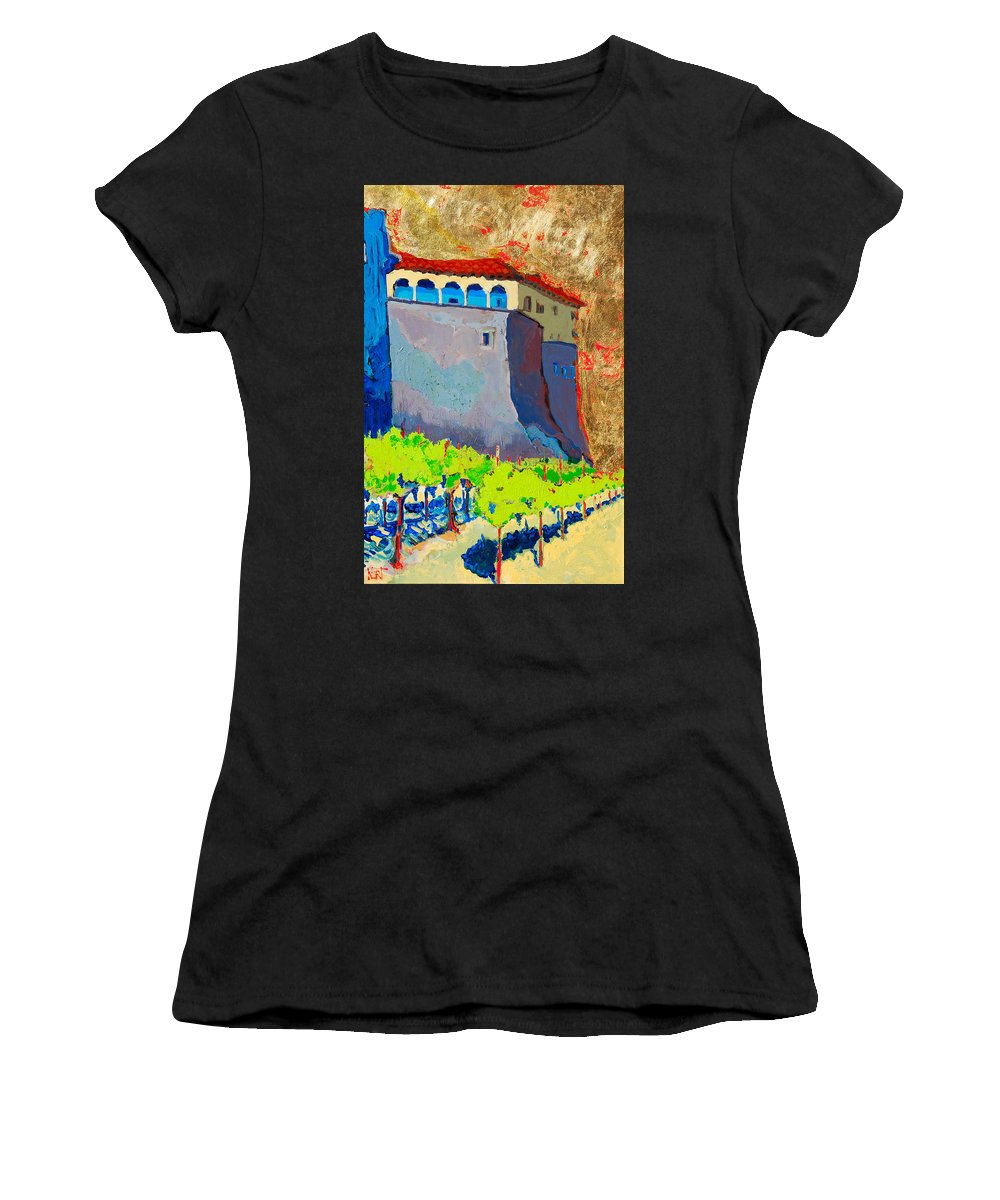 Castle Women's T-Shirt (Athletic Fit) featuring the painting Castello Di Villafranca by Kurt Hausmann