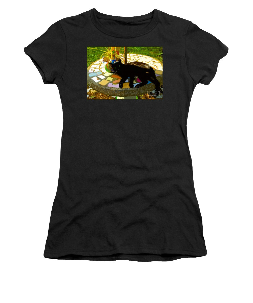 Black Cat Women's T-Shirt (Athletic Fit) featuring the painting Cat And Table by David Lee Thompson