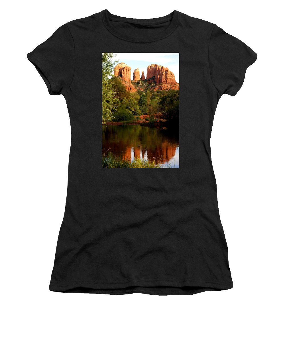 Cathedral Rock Vortex Women's T-Shirt (Athletic Fit) featuring the photograph Cathdedral Rock Vortex by The Art With A Heart By Charlotte Phillips