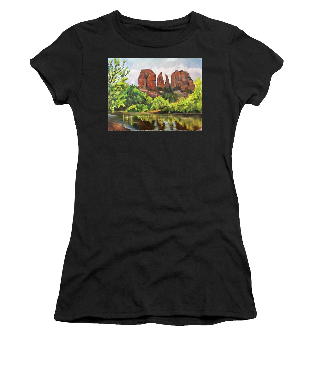 Rocks Women's T-Shirt featuring the painting Cathedral Rocks In Crescent Moon Park by Marilyn Froggatt
