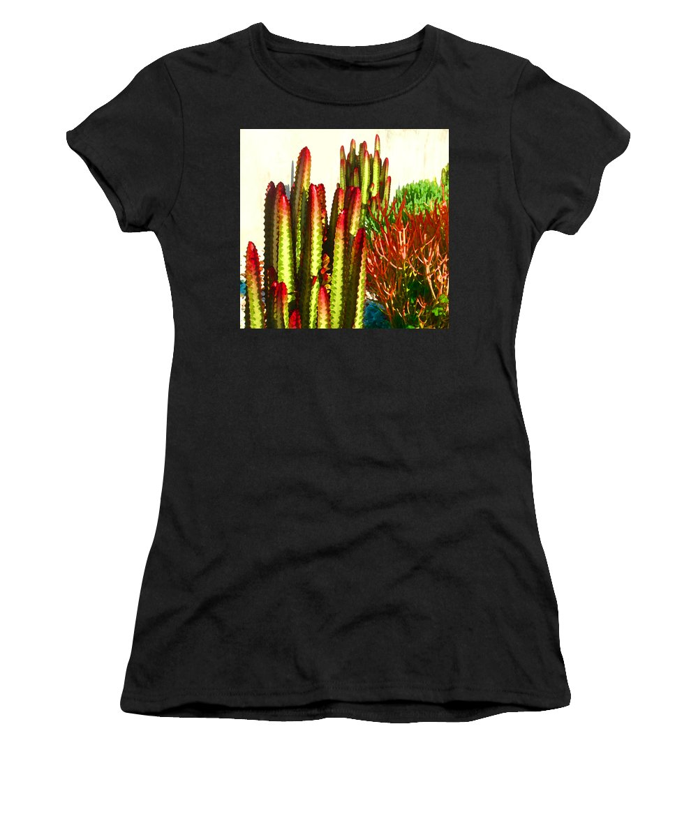 Landscape Women's T-Shirt featuring the painting Catus Garden by Amy Vangsgard