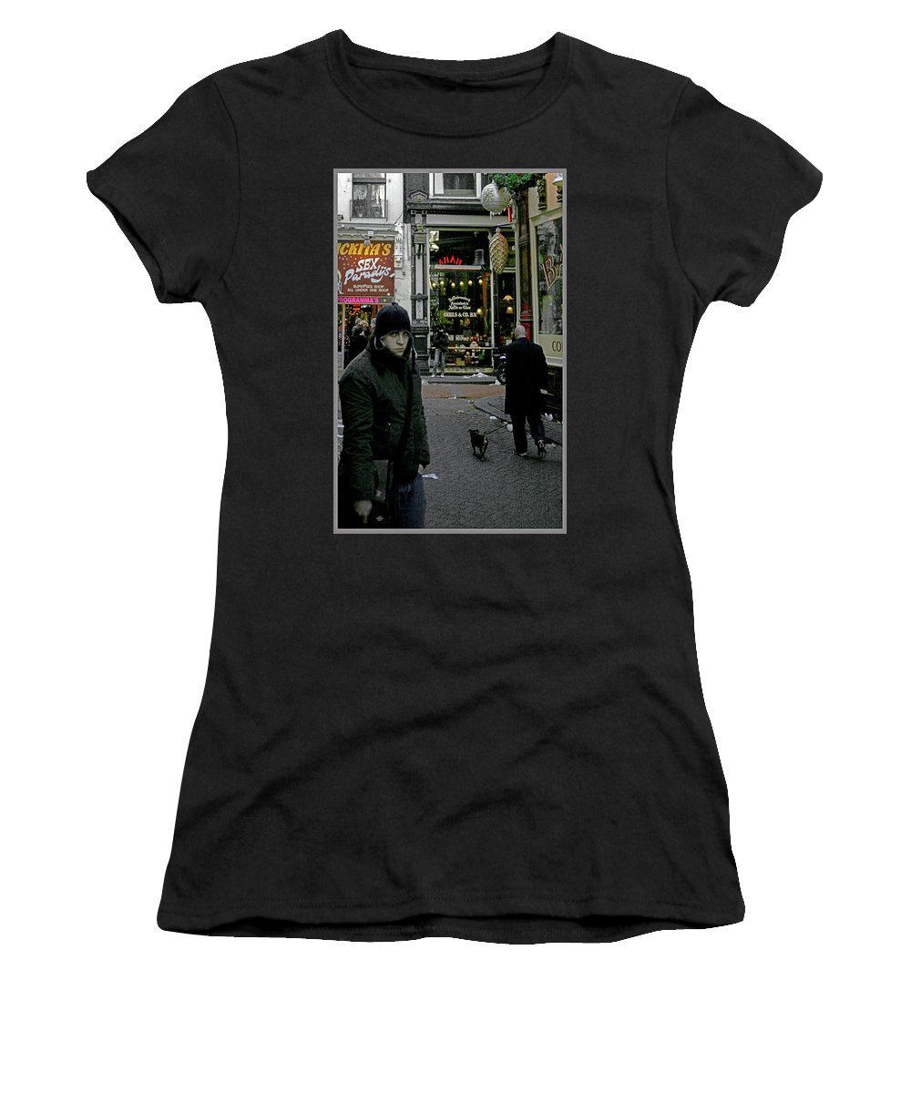 Red Light Districts Women's T-Shirt (Athletic Fit) featuring the photograph Caught Up by Guy Ciarcia