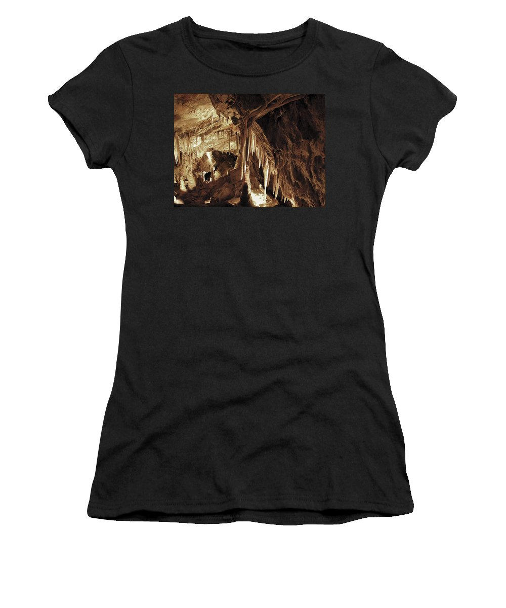 Cave Women's T-Shirt (Athletic Fit) featuring the photograph Cave Interior by Marilyn Hunt