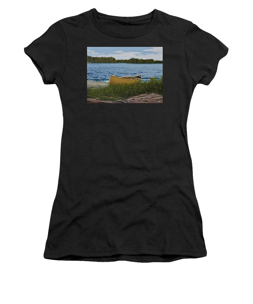 Landscapes Women's T-Shirt (Athletic Fit) featuring the painting Cedar Canoe by Kenneth M Kirsch