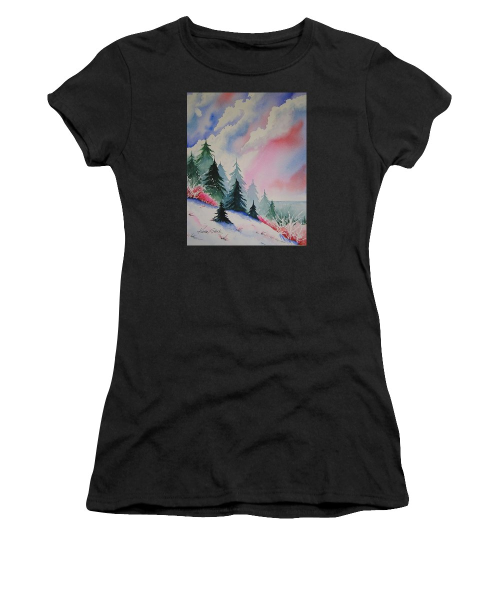 Snow Women's T-Shirt (Athletic Fit) featuring the painting Cedar Fork Snow by Karen Stark