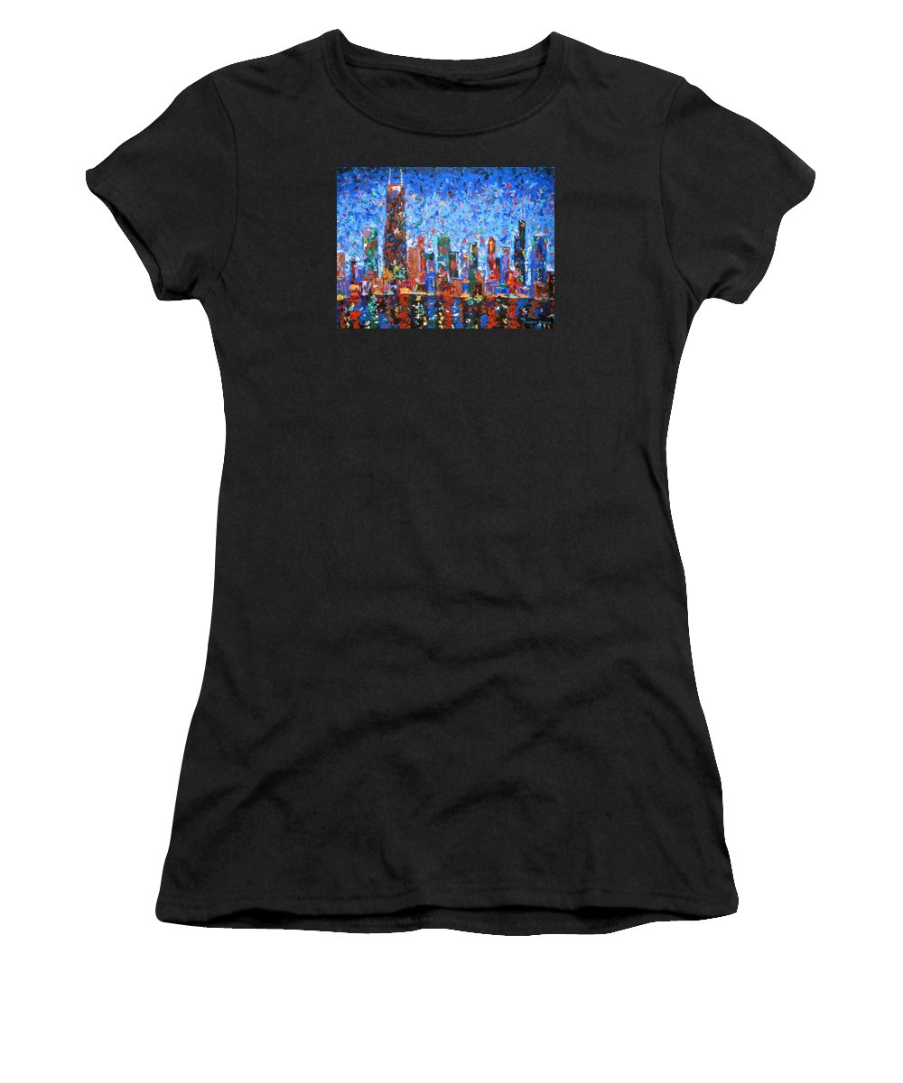 City Skyline Women's T-Shirt (Athletic Fit) featuring the painting Celebration City by J Loren Reedy
