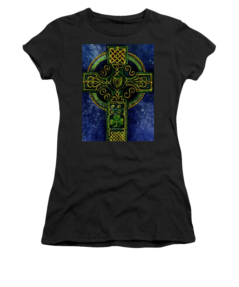 Elle Fagan Women's T-Shirt (Athletic Fit) featuring the painting Celtic Cross - Harp by Elle Smith Fagan