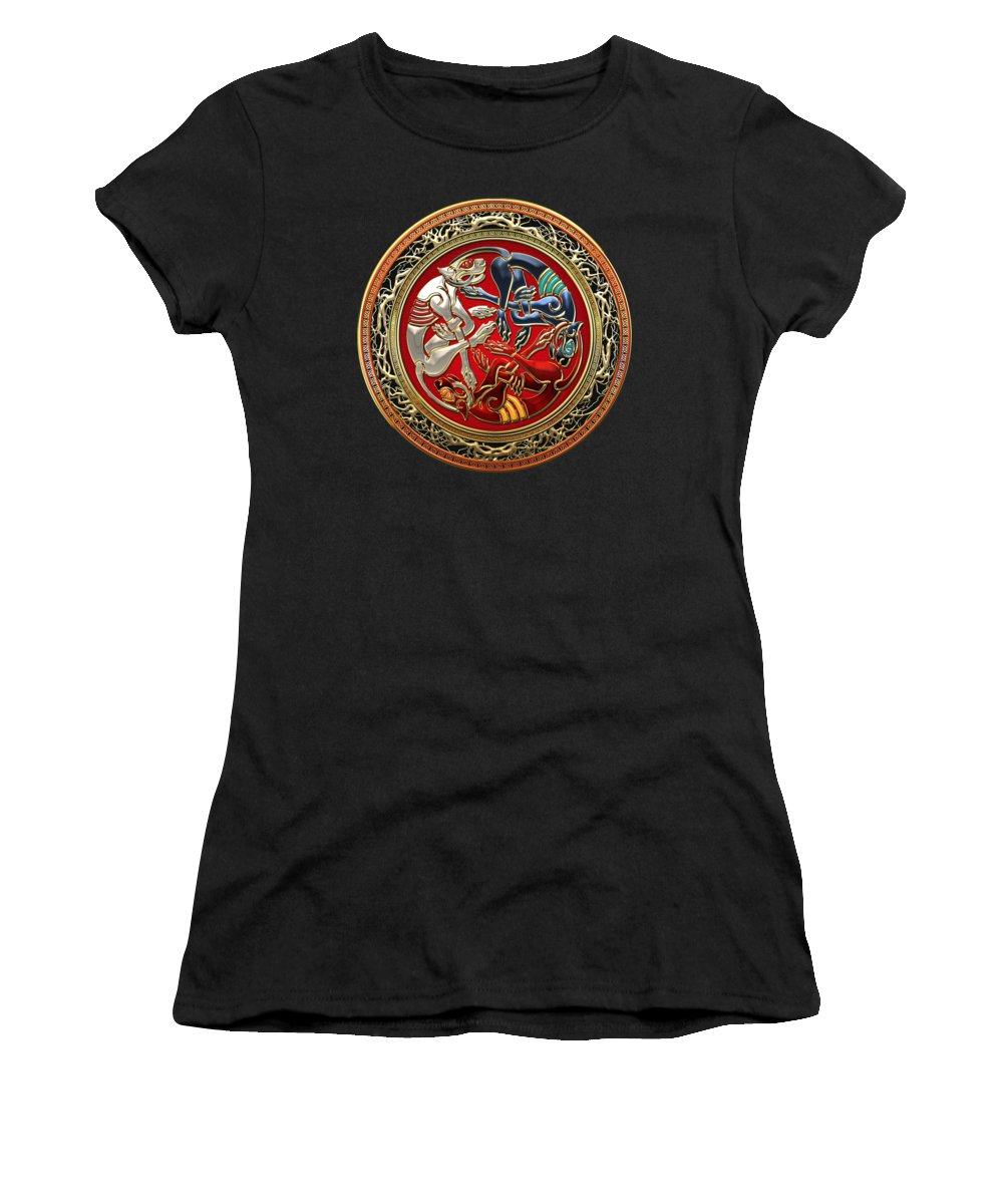 'celtic Treasures' Collection By Serge Averbukh Women's T-Shirt featuring the digital art Celtic Treasures - Three Dogs On Gold And Red Leather by Serge Averbukh