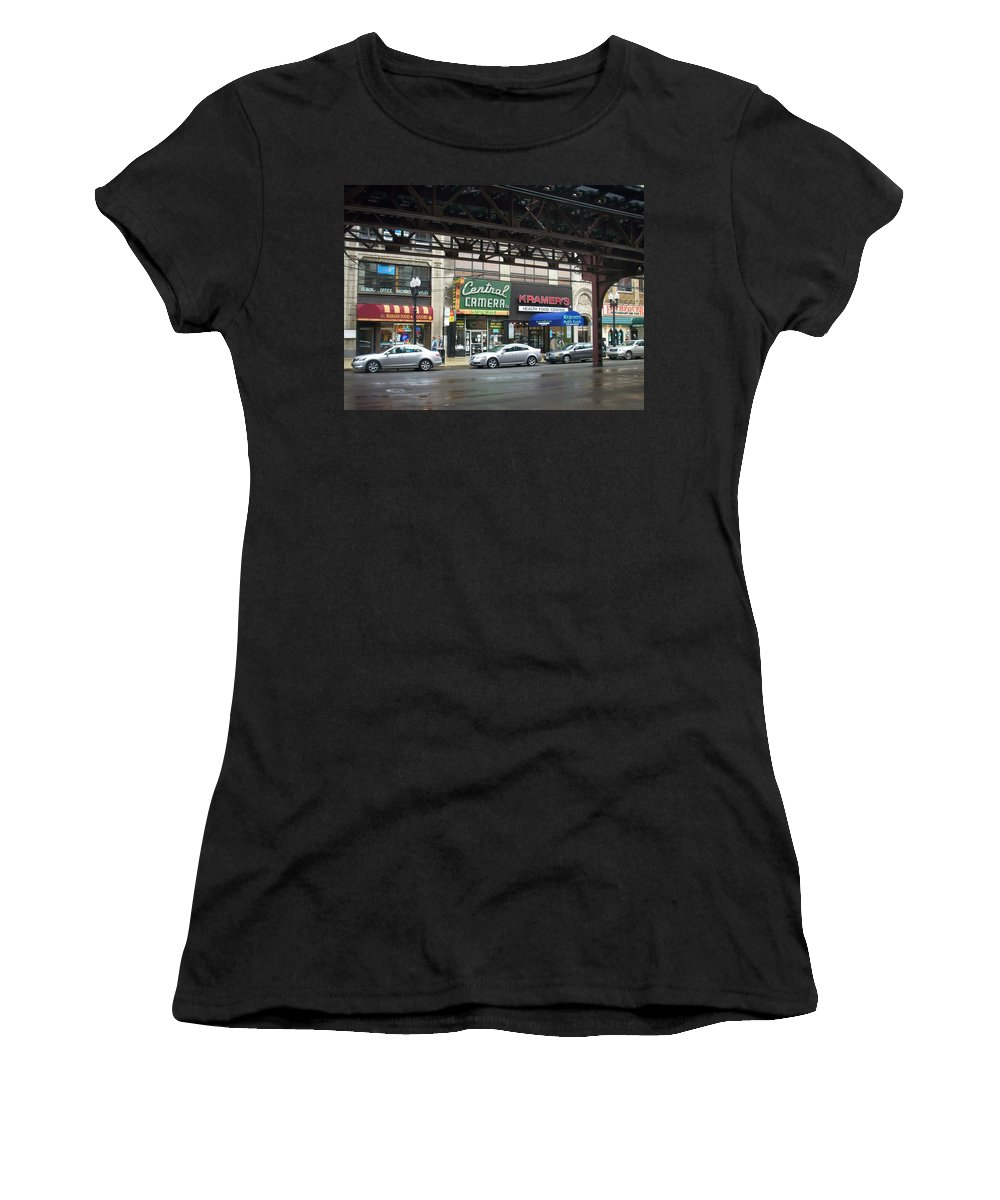 Chicago Women's T-Shirt (Athletic Fit) featuring the photograph Central Camera On Wabash Ave by Anita Burgermeister