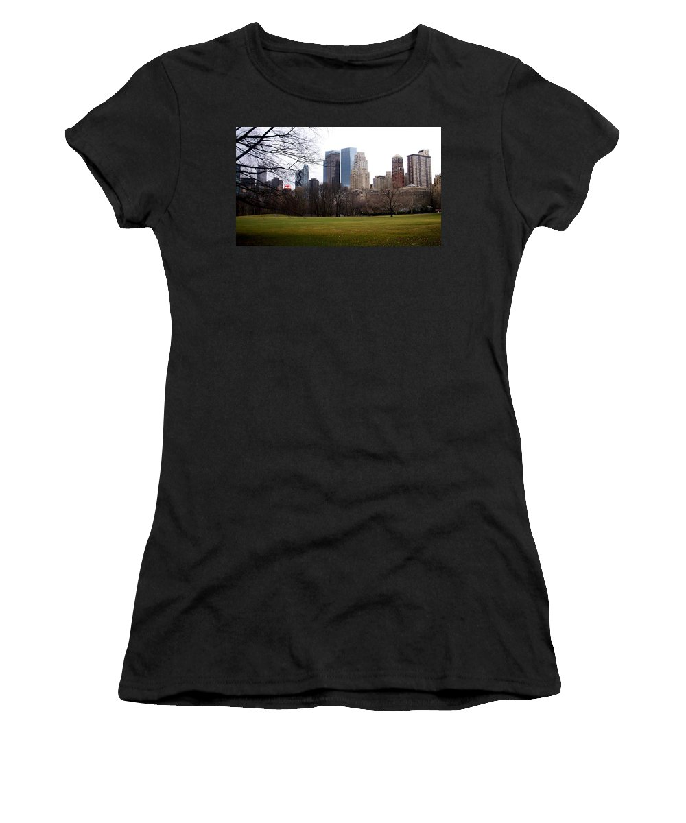 Central Park Women's T-Shirt (Athletic Fit) featuring the photograph Central Park by Anita Burgermeister