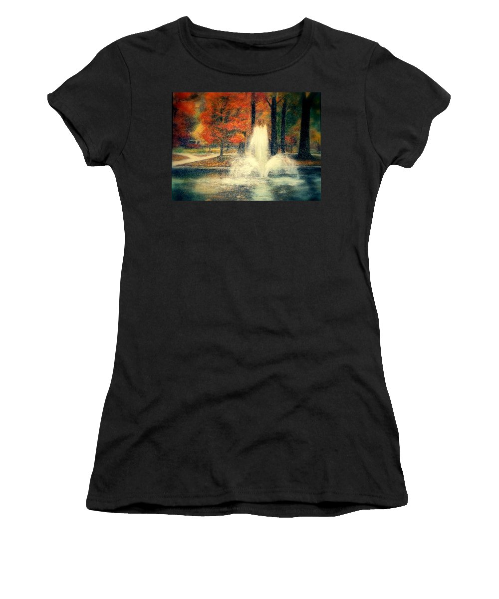 Pond Women's T-Shirt (Athletic Fit) featuring the painting Central Park In Autumn by Gail Kirtz