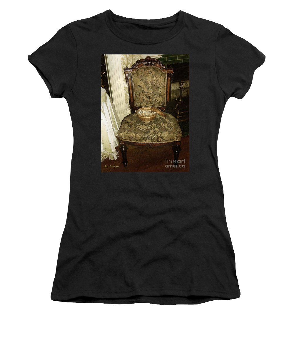 Antiques Women's T-Shirt (Athletic Fit) featuring the painting Chair By The Hearth by RC DeWinter