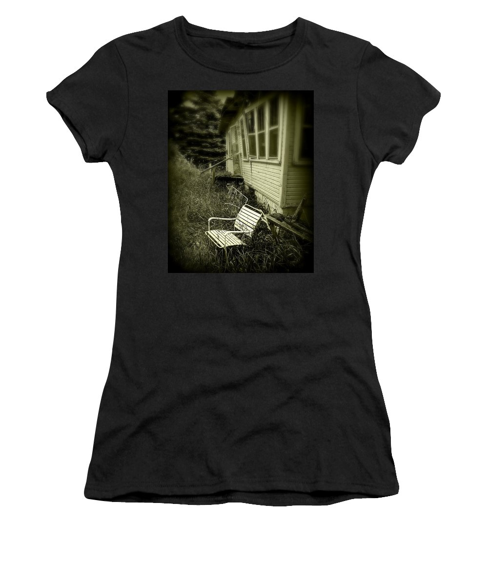 Chair Women's T-Shirt (Athletic Fit) featuring the photograph Chair In Grass by Perry Webster