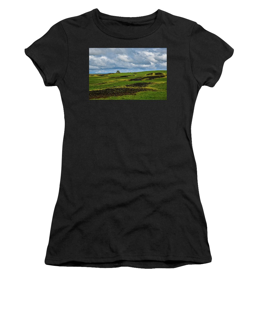 Table Mountain Women's T-Shirt (Athletic Fit) featuring the photograph Changing Skies And Landscape by Barbara Matthews