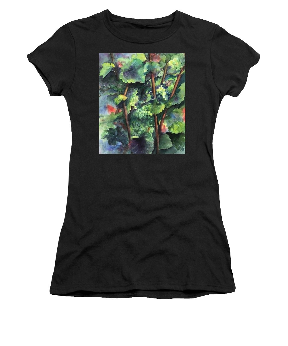 Vineyard Women's T-Shirt featuring the painting Chardonnay Dans L'ombre by Maria Hunt
