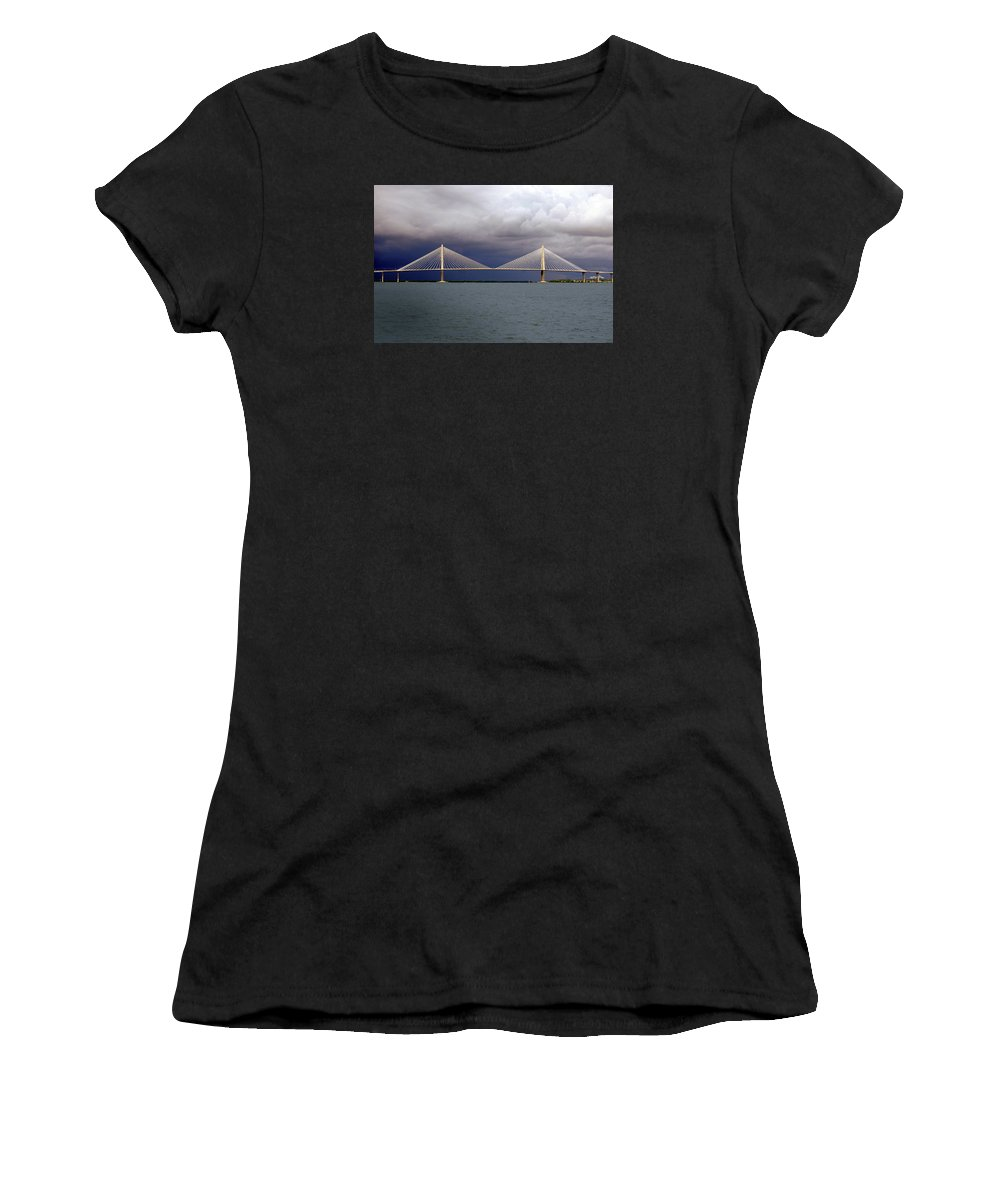 Span Women's T-Shirt (Athletic Fit) featuring the photograph Charleston Ravenel Bridge by Skip Willits