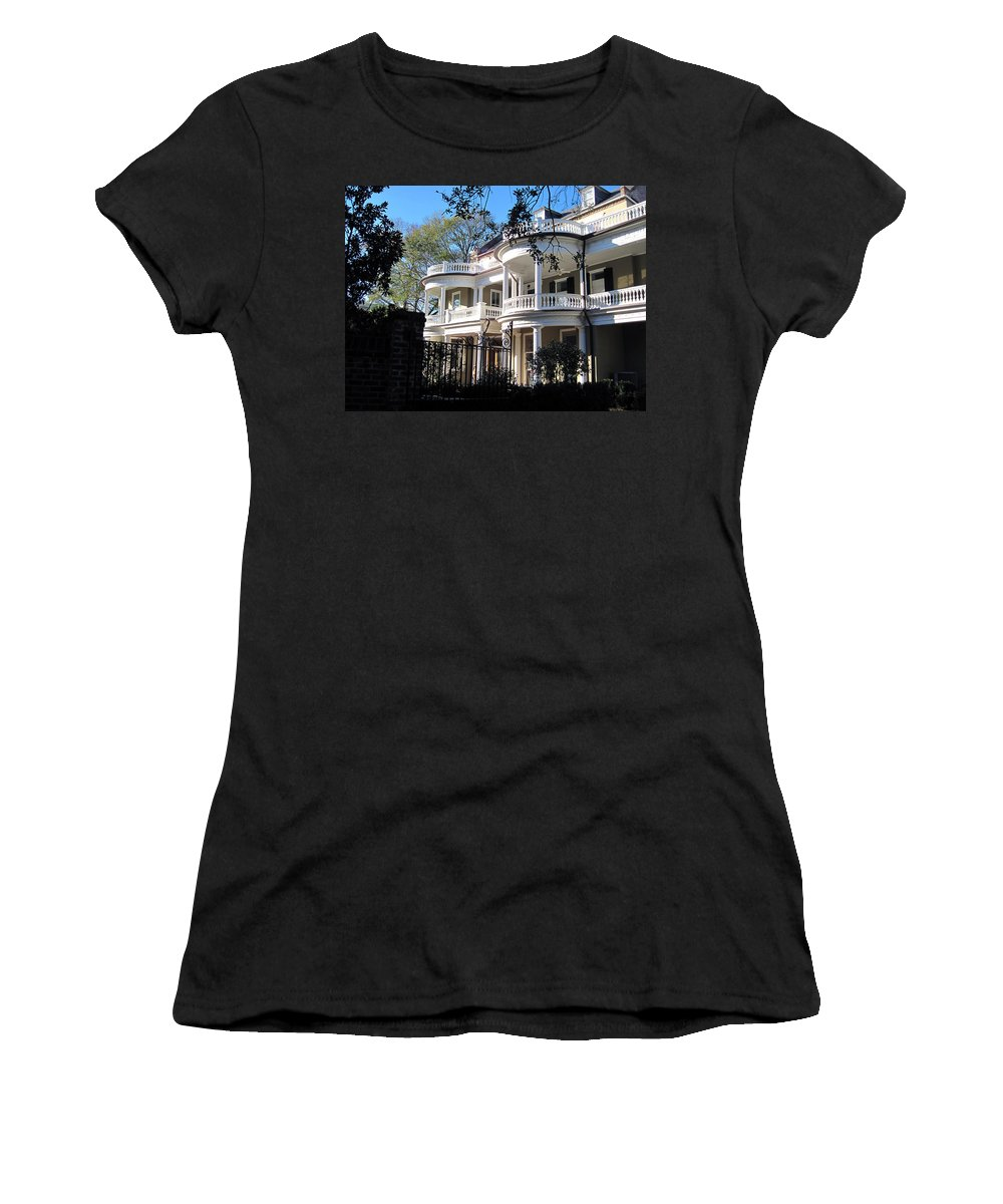 Photography Women's T-Shirt (Athletic Fit) featuring the photograph Charlestons Beautiful Architecure by Susanne Van Hulst