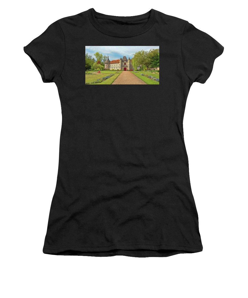 Chateau De Saint-germain-de-livet Women's T-Shirt (Athletic Fit) featuring the photograph Chateau De Saint-germain-de-livet, Normandy, France by Curt Rush