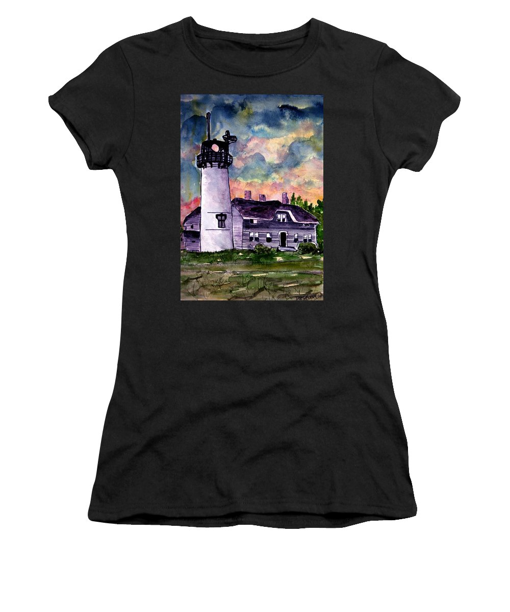 Lighthouse Women's T-Shirt (Athletic Fit) featuring the painting Chatham Lighthouse Martha's Vineyard Massachuestts Cape Cod Art by Derek Mccrea