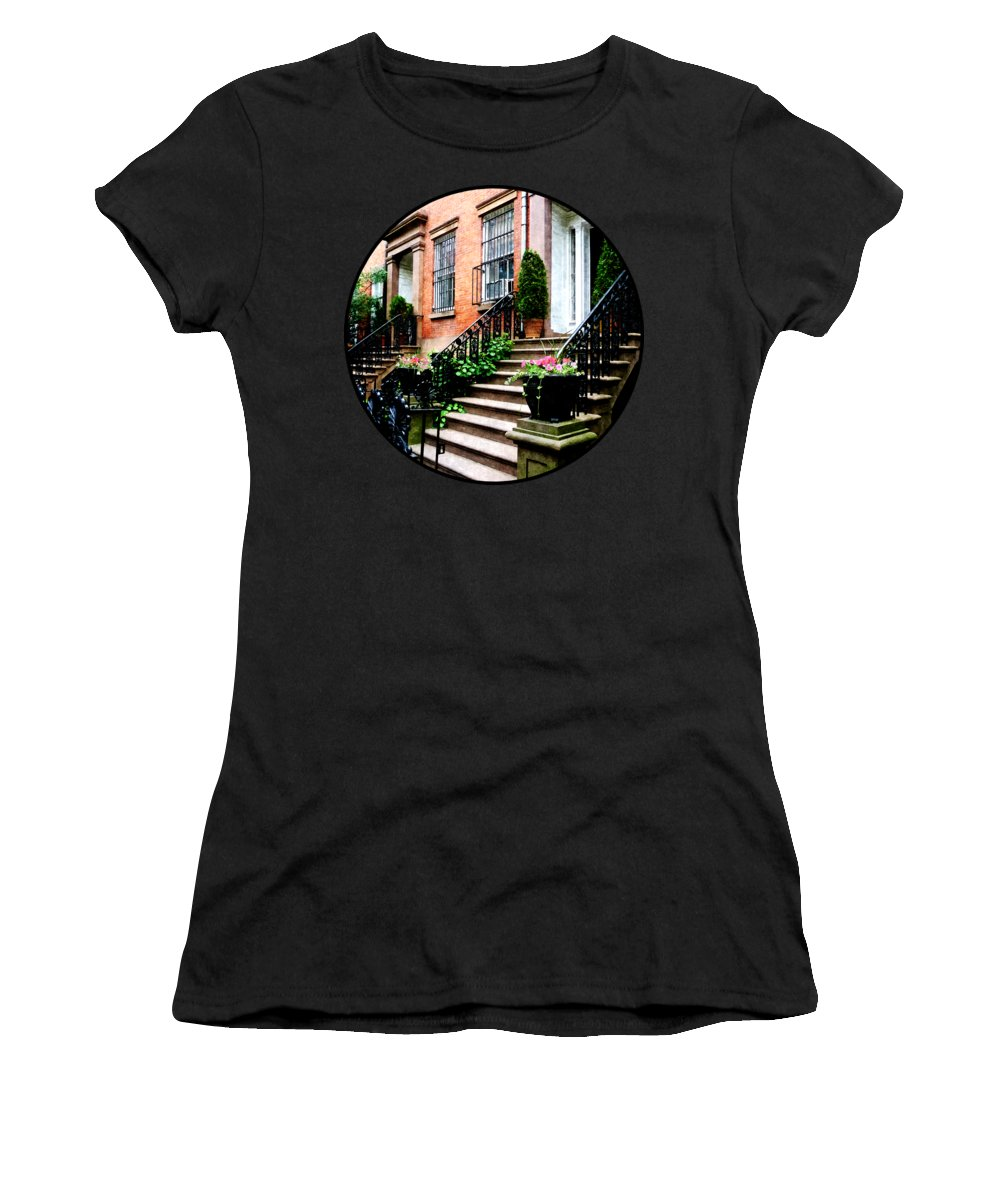 Brownstone Women's T-Shirt featuring the photograph Chelsea Brownstone by Susan Savad