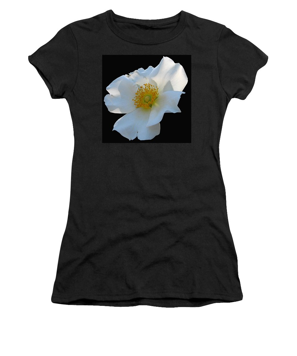 Cherokee Rose Women's T-Shirt (Athletic Fit) featuring the photograph Cherokee Rose On Black by J M Farris Photography
