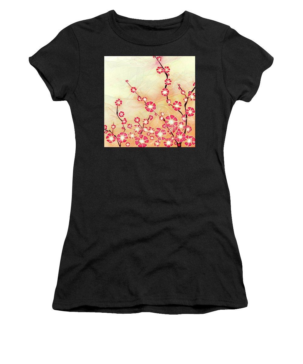 Decorative Women's T-Shirt (Athletic Fit) featuring the digital art Cherry Blossom by Anastasiya Malakhova