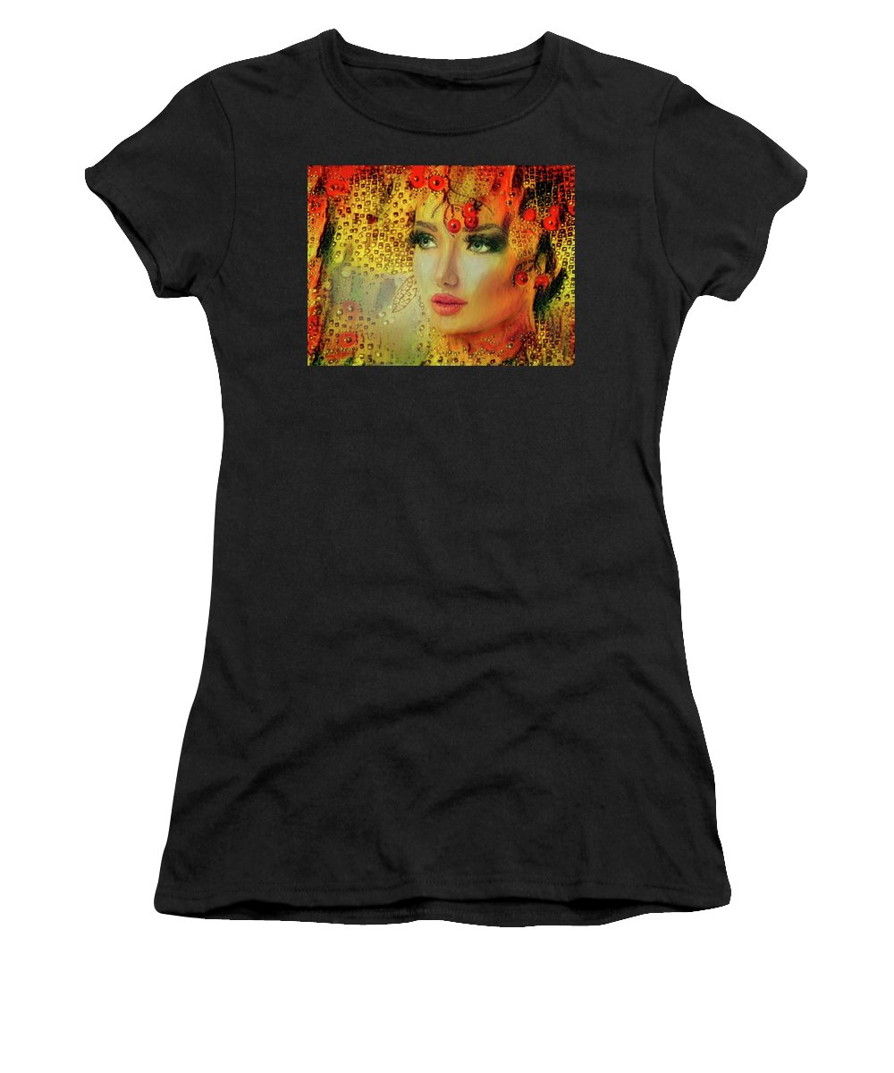 Cherry Lady Women's T-Shirt featuring the mixed media Cherry Cherry Lady by Lilia D