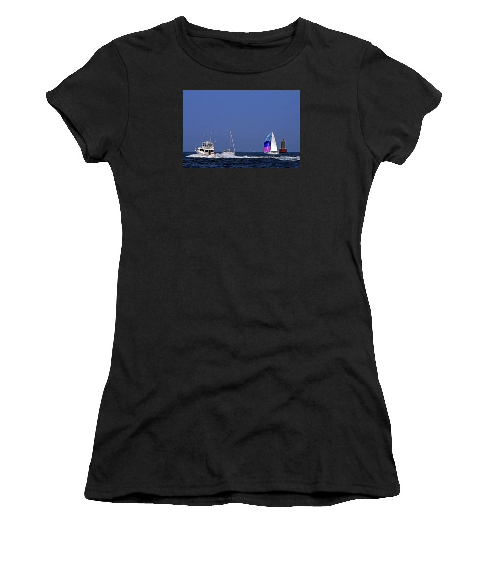 Motoryacht Speeding Past Sailboats Women's T-Shirt featuring the photograph Chesapeake Bay Action by Sally Weigand
