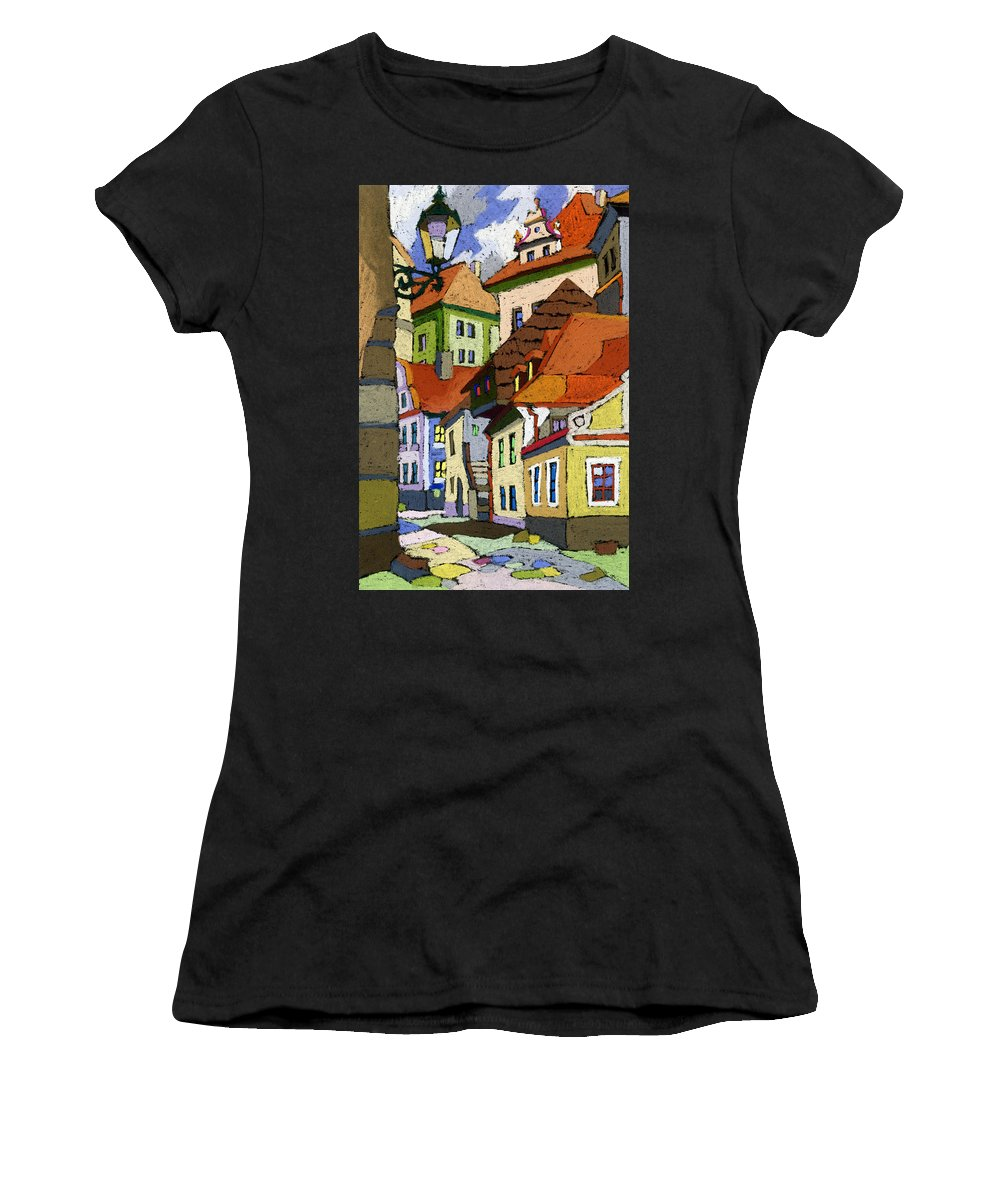Pastel Women's T-Shirt (Athletic Fit) featuring the painting Chesky Krumlov Masna Street 1 by Yuriy Shevchuk