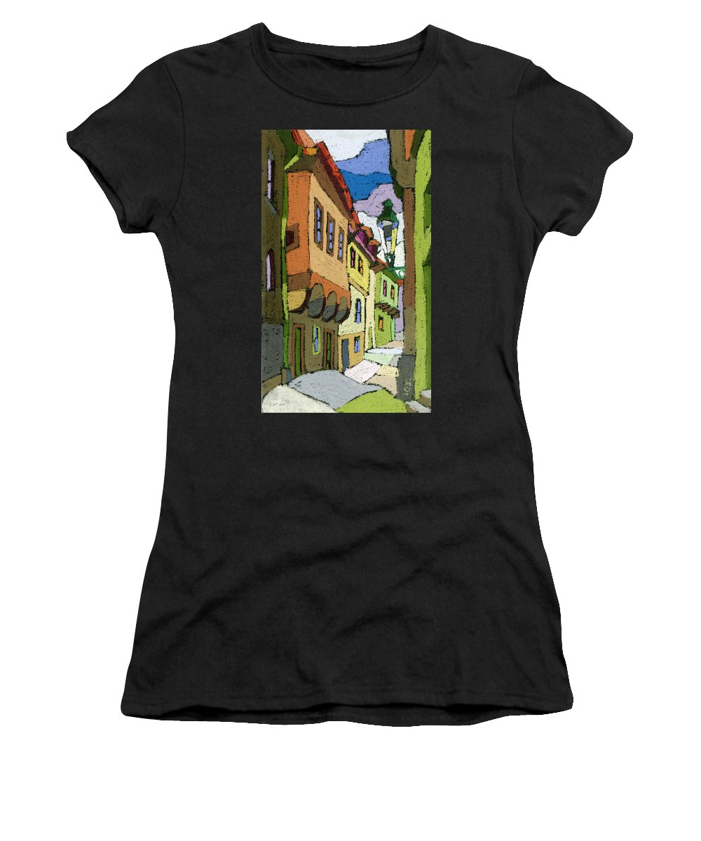 Pastel Women's T-Shirt (Athletic Fit) featuring the painting Chesky Krumlov Street Nove Mesto by Yuriy Shevchuk