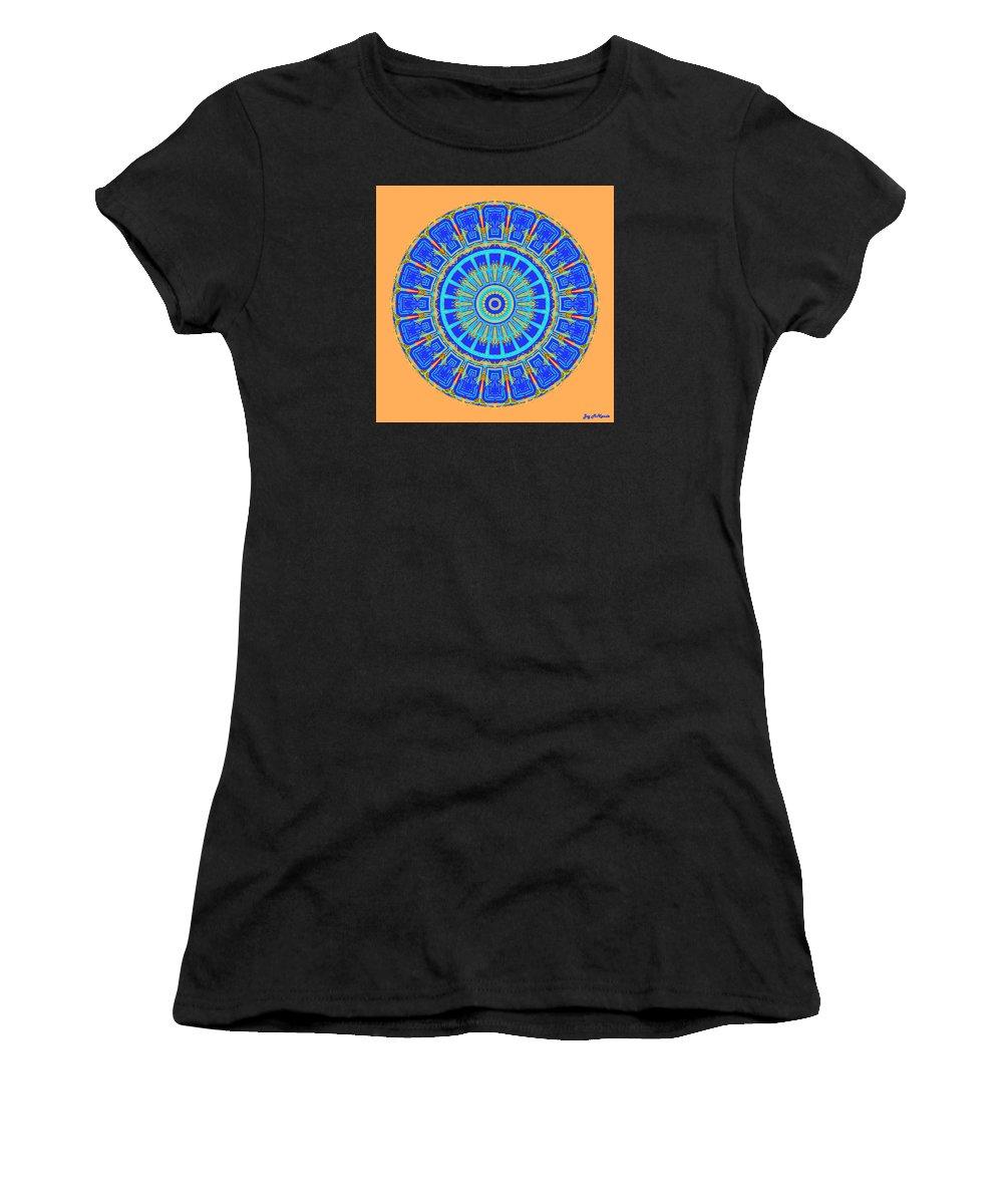 Digital Women's T-Shirt featuring the digital art Chevrons Mandala by Joy McKenzie