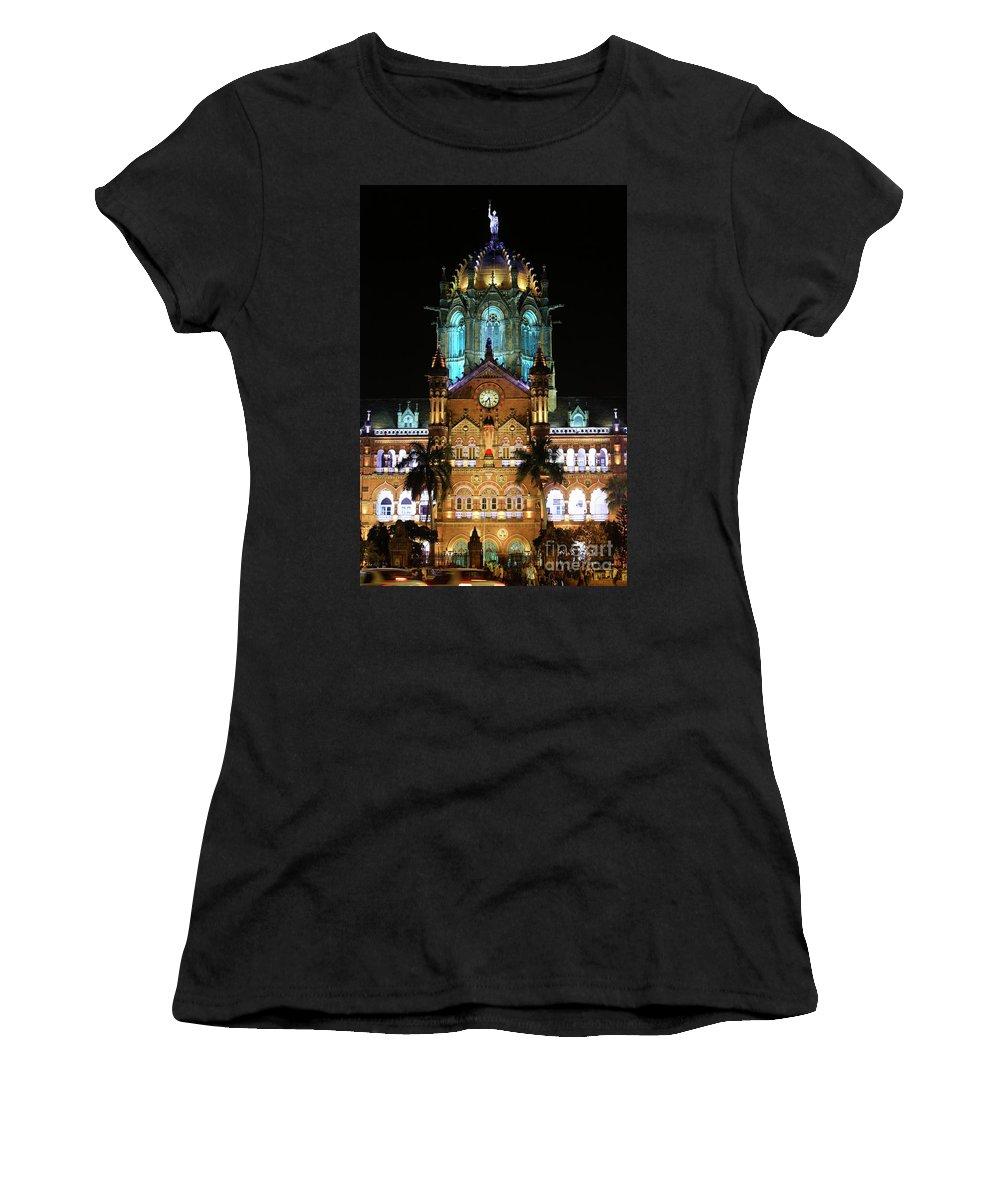 Mumbai Women's T-Shirt featuring the photograph Chhatrapati Shivaji Terminus Formerly Victoria Terminus In Mumbai-3 by Milind Ketkar
