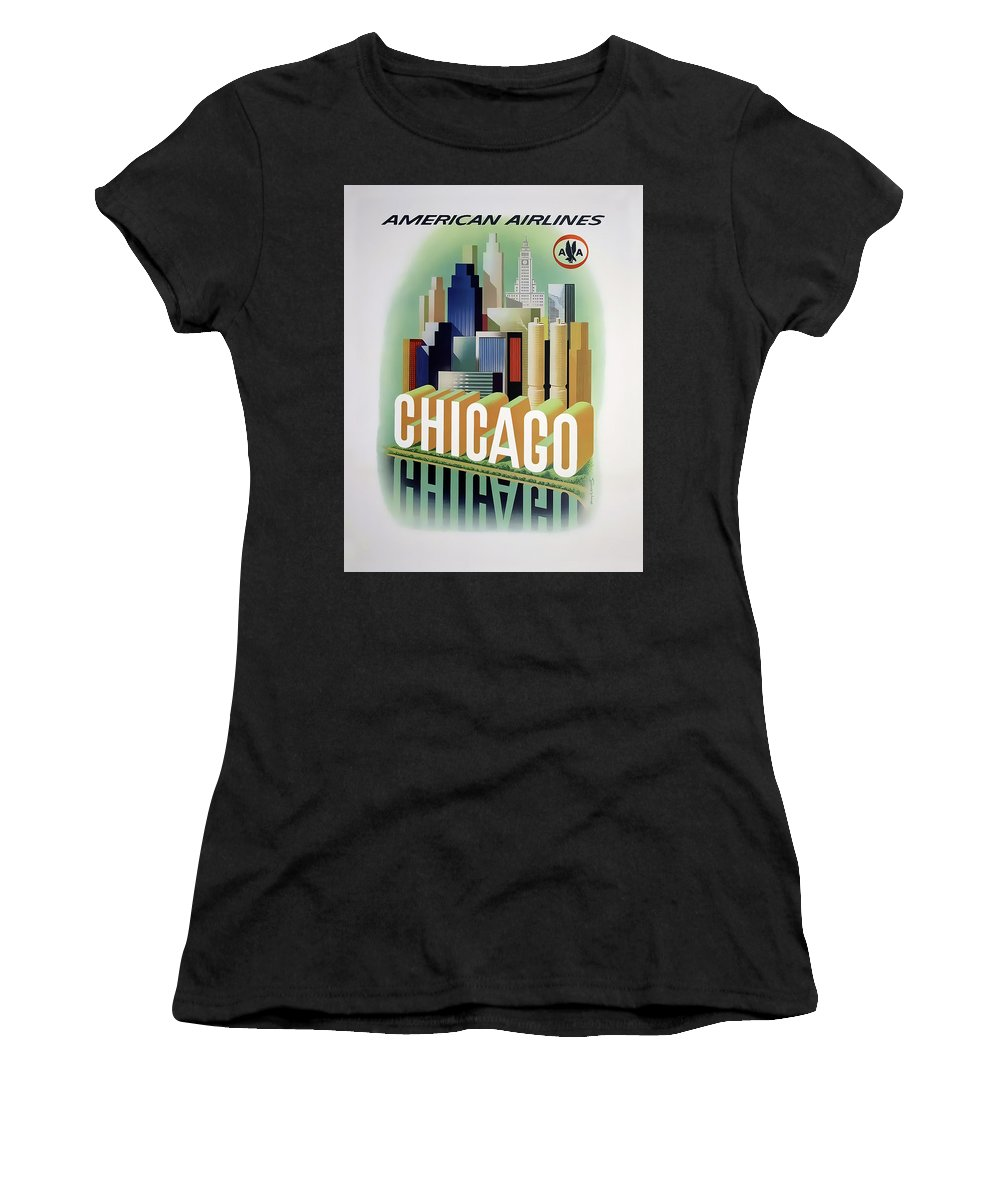 Chicago Women's T-Shirt (Athletic Fit) featuring the photograph Chicago American Airlines 1950 by Daniel Hagerman