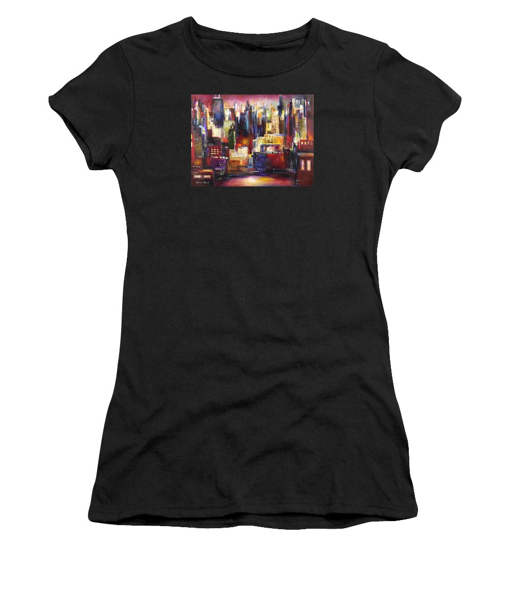 Chicago Art Women's T-Shirt (Athletic Fit) featuring the painting Chicago City View by Kathleen Patrick