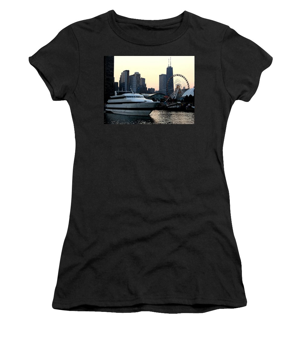 Photo Women's T-Shirt featuring the photograph Chicago Navy Pier by Glory Fraulein Wolfe