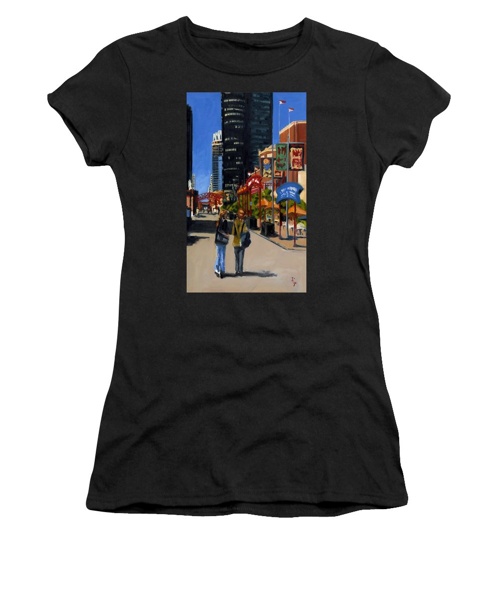 Chicago Women's T-Shirt (Athletic Fit) featuring the painting Chicago - Navy Pier by Robert Reeves