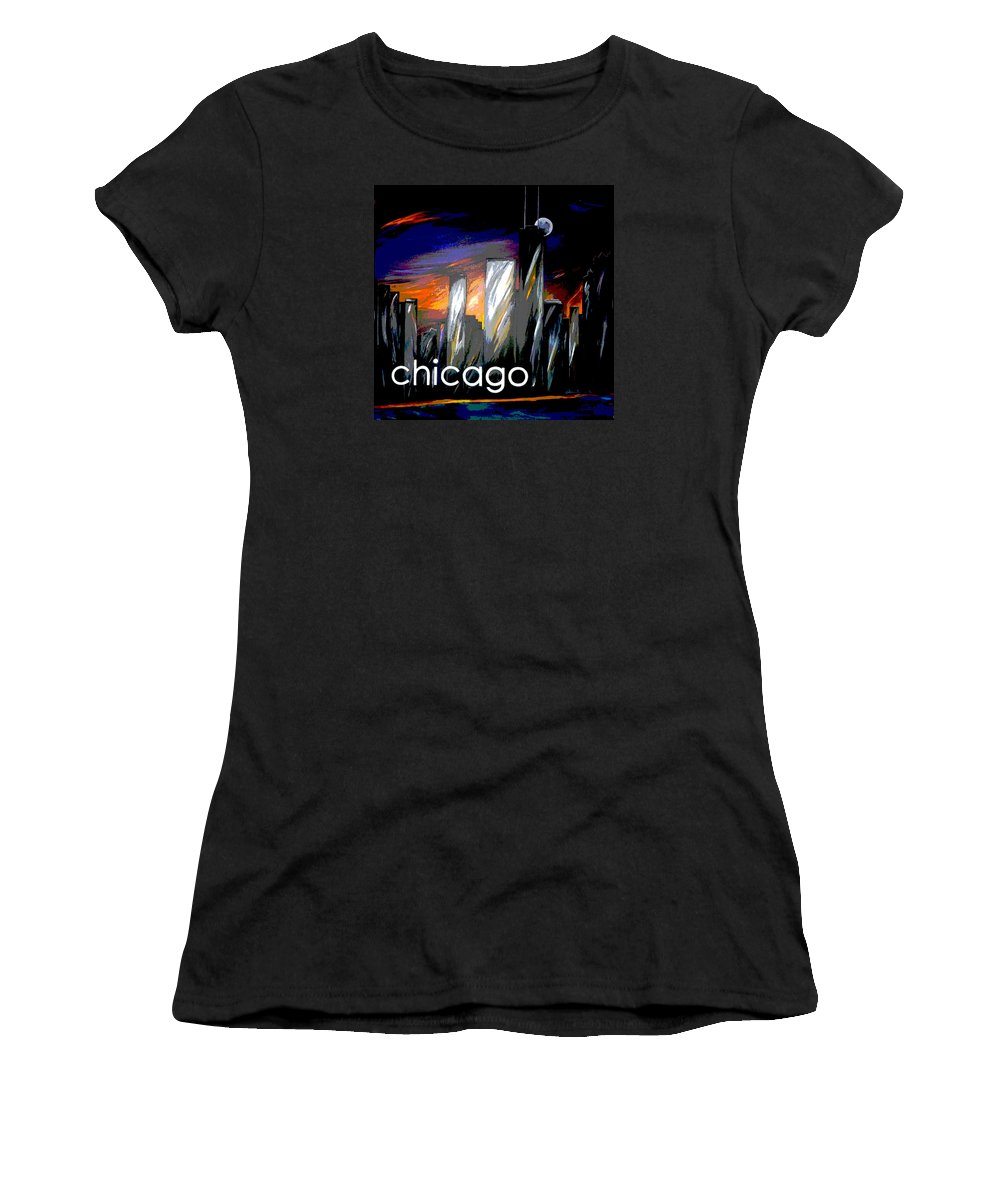 Chicago Women's T-Shirt featuring the painting Chicago Night Skyline by Jean Habeck