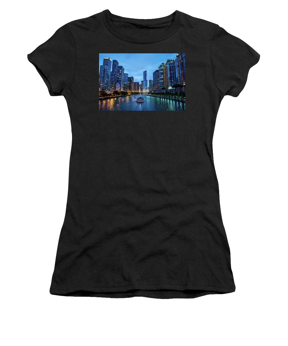 Chicago Women's T-Shirt featuring the photograph Chicago River Sunset by Roman Arkhipov