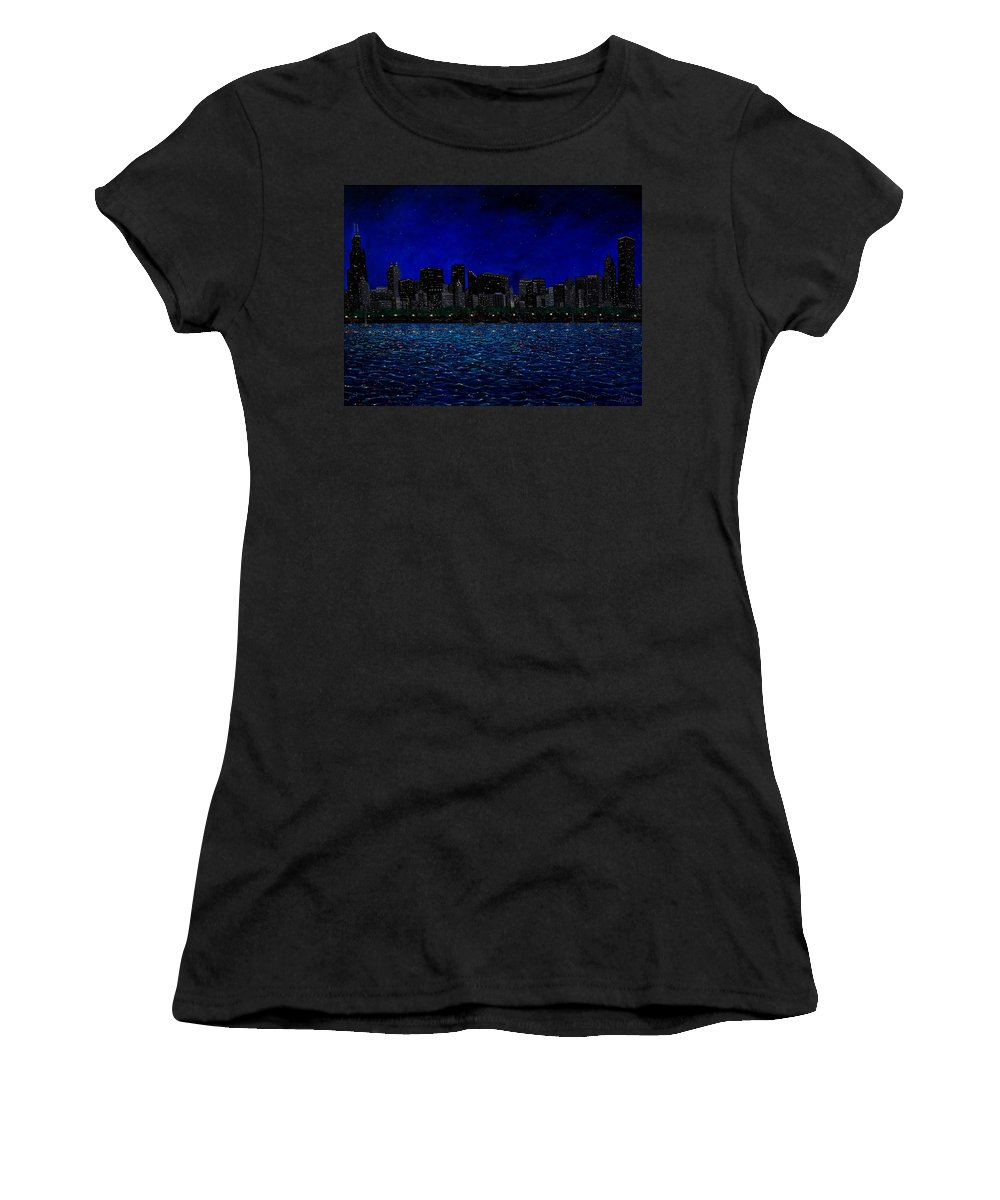 Chicago At Night Women's T-Shirt (Athletic Fit) featuring the painting Chicago Skyline by Joe Michelli