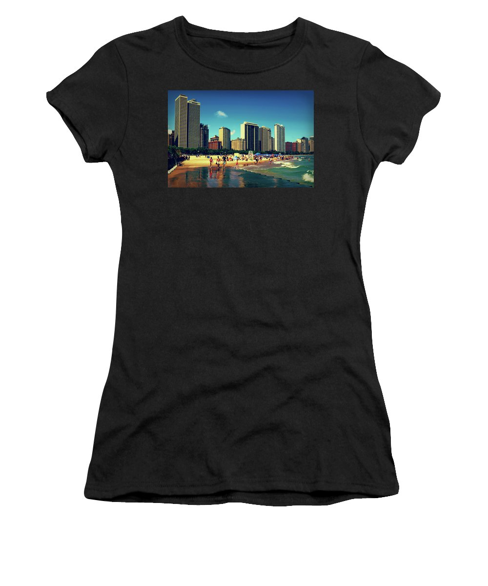 Chicago Skyline Women's T-Shirt (Athletic Fit) featuring the photograph Chicago Summer Skyline At Oak Street Beach by Patrick Malon