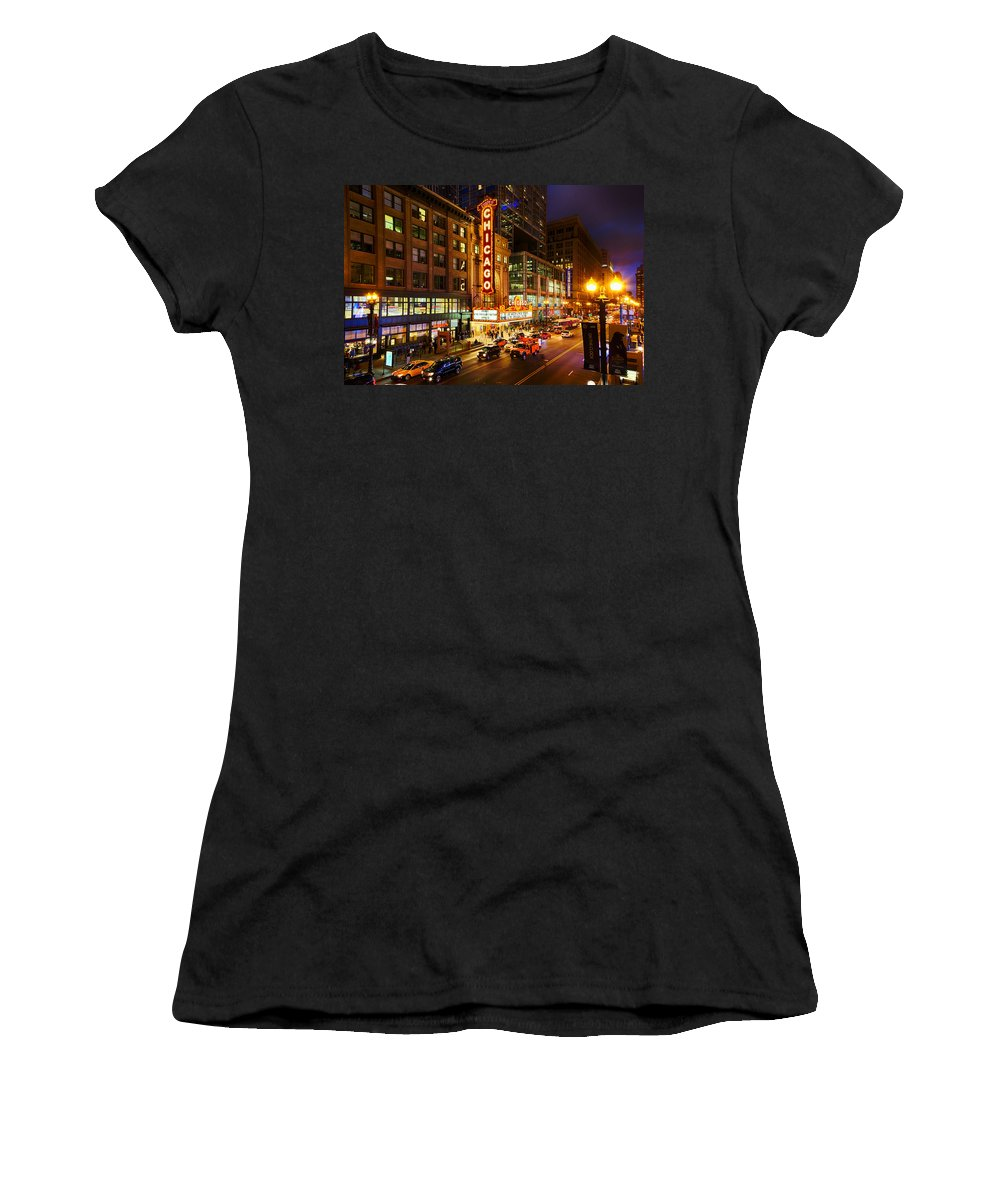 Chicago Women's T-Shirt featuring the photograph Chicago Theater At Night by Terri Morris