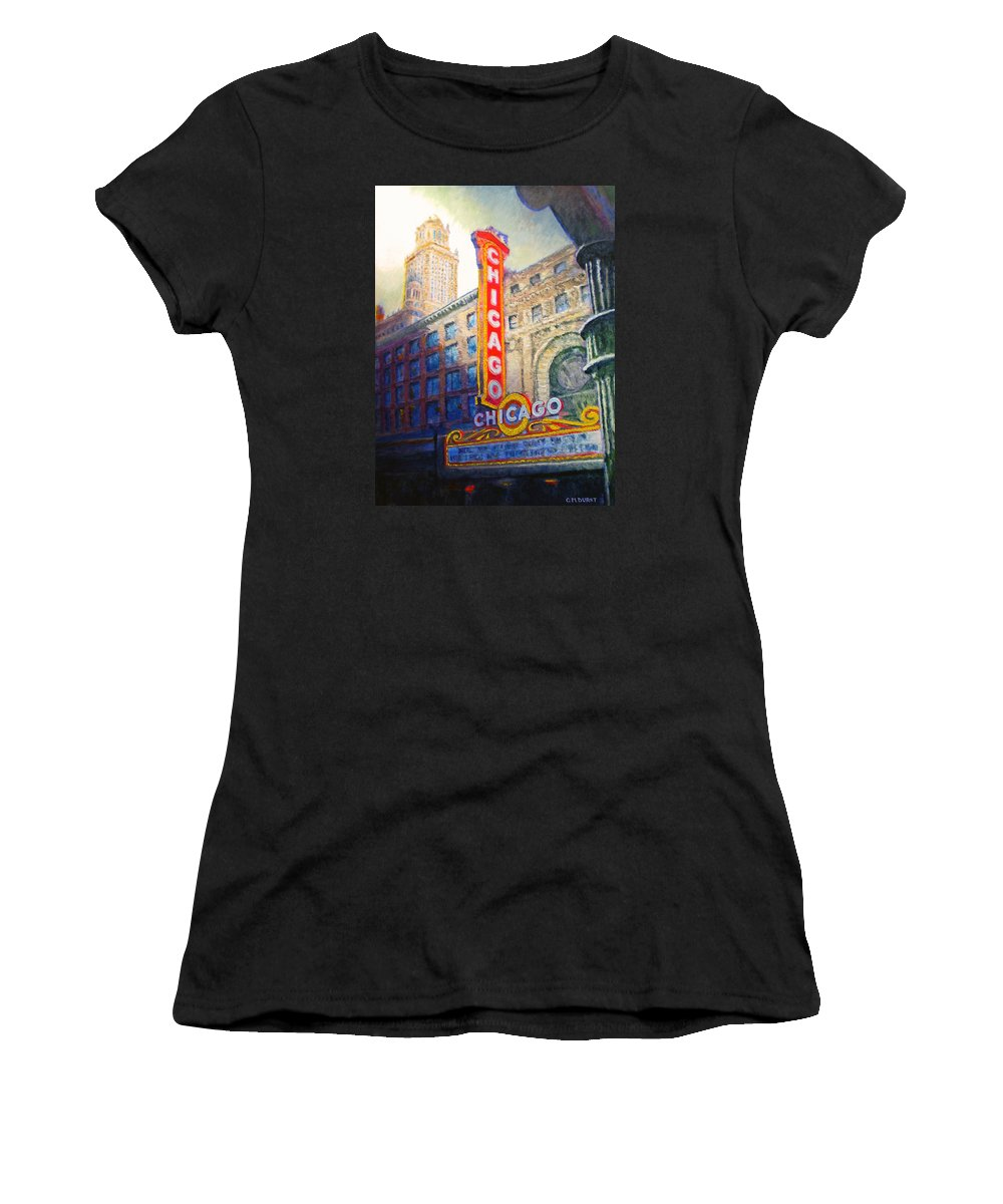 Chicago Women's T-Shirt (Athletic Fit) featuring the painting Chicago Theater by Michael Durst
