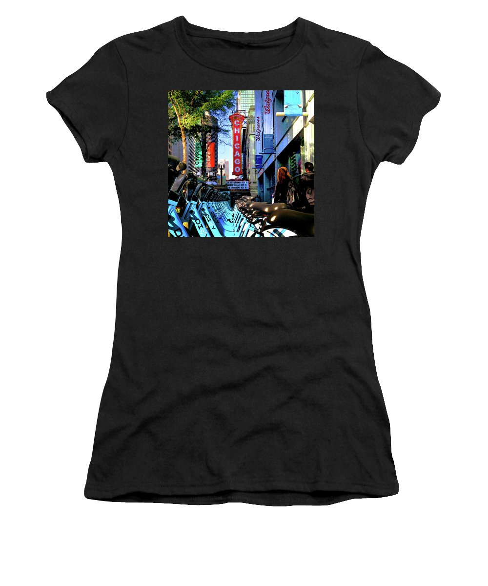 Chicago Theatre Women's T-Shirt (Athletic Fit) featuring the photograph Chicago Theatre City Bikes by Patrick Malon