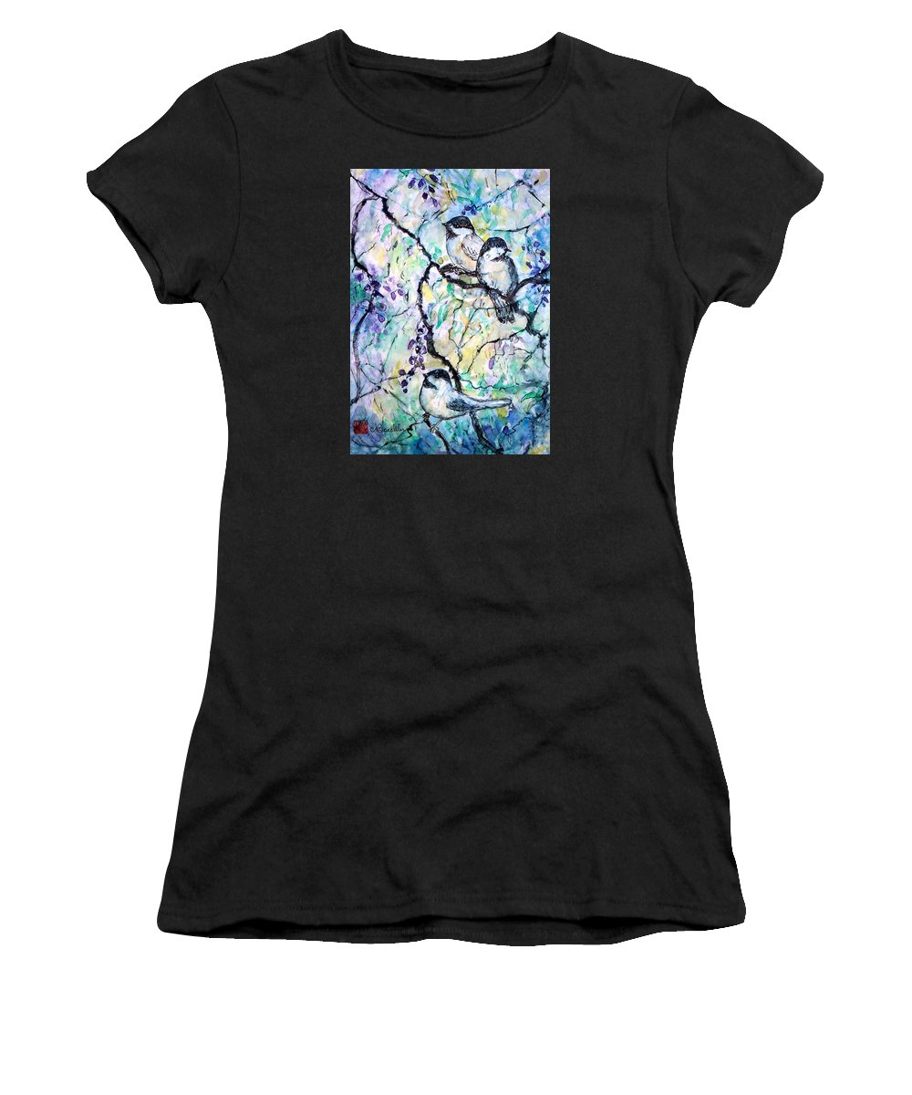 Birds Women's T-Shirt featuring the painting Chickadees by Norma Boeckler