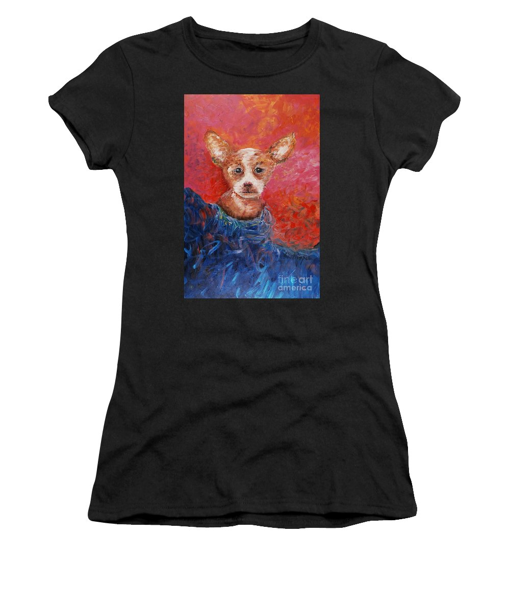 Dog Women's T-Shirt (Athletic Fit) featuring the painting Chihuahua Blues by Nadine Rippelmeyer